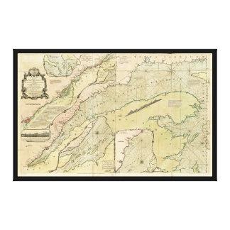 Toile Carte du fleuve Saint-Laurent (1771)