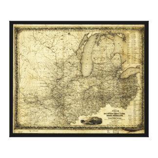 Toile Carte du Midwest Etats-Unis (c 1840)