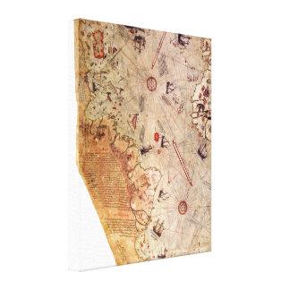Toile Carte du monde de Piri Reis
