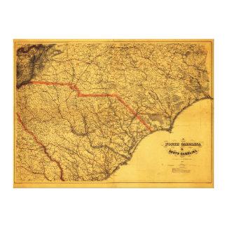 Toile Carte du nord et de la Caroline du Sud (1865)