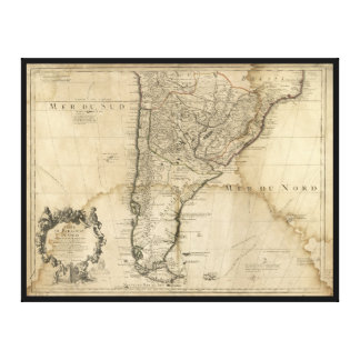 Toile Carte du Paraguay et du piment, Amérique du Sud