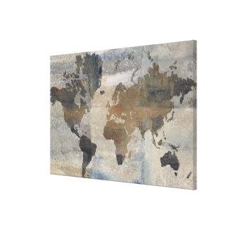 Toile Carte en pierre grise du monde