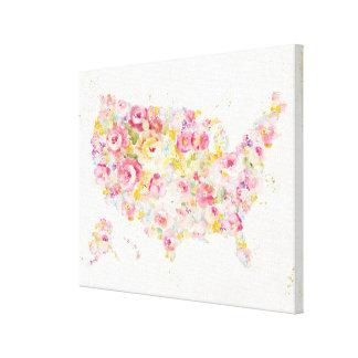 Toile Carte florale des Etats-Unis