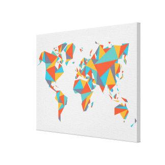 Toile Carte géométrique abstraite du monde
