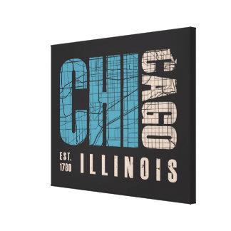 Toile Carte graphique de Chicago, l'Illinois |