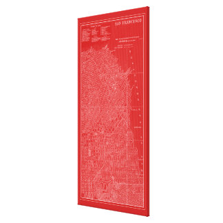 Toile Carte graphique de San Francisco