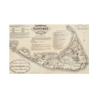 Toile Carte historique d'art de mur de Nantucket