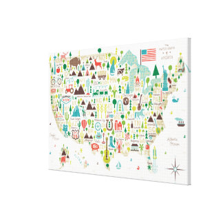 Toile Carte illustrée des Etats-Unis