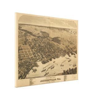 Toile Carte imagée vintage de Jacksonville FL (1874)