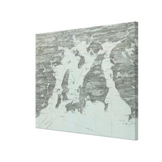 Toile Carte imagée vintage de la baie de Narragansett