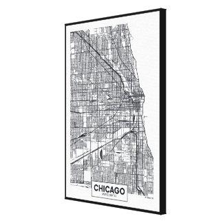 Toile Carte noire et blanche de ville de Chicago,