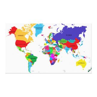 Toile Carte politique colorée du monde