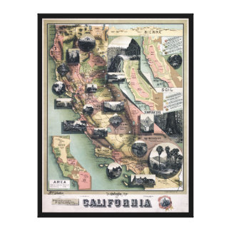 Toile Carte unique de la Californie (1888)