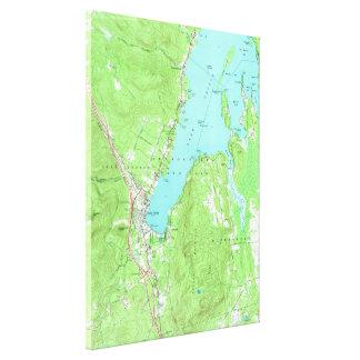 Toile Carte vintage de lac George New York (1966)