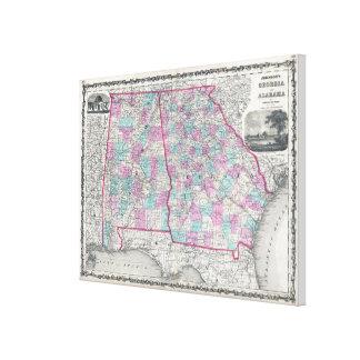 Toile Carte vintage de l'Alabama et de la Géorgie (1862)