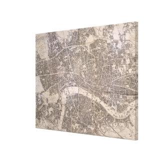 Toile Carte vintage de Londres Angleterre (1845)