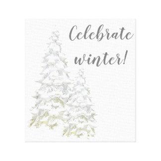 Toile Célébrez l'art de mur d'arbre de Milou d'hiver
