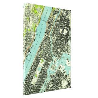 Toile Central Park vintage et Bronx NY Map (1947)
