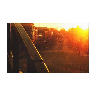 Toile Centre-ville Niles Michigan de lever de soleil