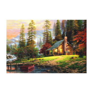 Toile Chalet en bois de belle montagne sur le rivage de