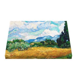 Toile Champ de blé avec des cyprès par Vincent van Gogh