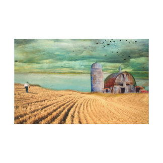 Toile Champ de blé de ferme avec la grange