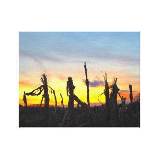 Toile Champ de maïs de coucher du soleil