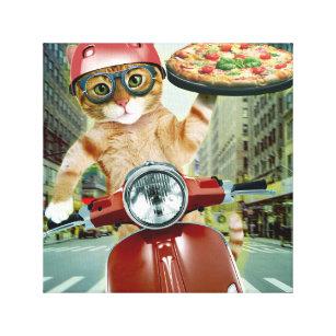 Toile chat de pizza - chat - la livraison de pizza