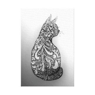 Toile Chat décoré noir et blanc de conception originale