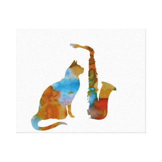 Toile Chat et saxophone