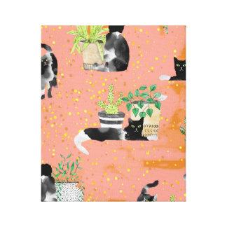 Toile Chats et plantes