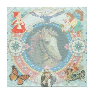 Toile Cheval blanc avec des icônes de livre de contes de