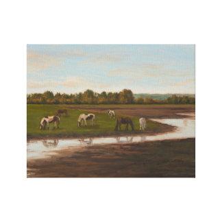Toile Chevaux anglais de campagne dans le paysage de