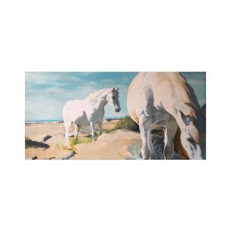 Toile Chevaux blancs sur la plage
