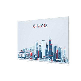 Toile Chicago, l'Illinois horizon rouge, blanc et bleu