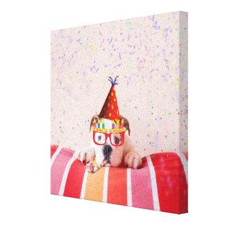 Toile Chien d'anniversaire