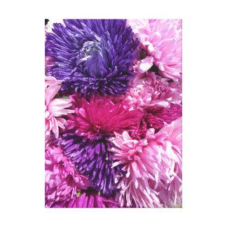 Toile Chrysanthèmes roses et pourpres
