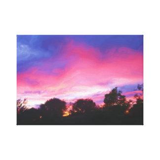 Toile Ciel rose et bleu à la copie de peinture à l'huile