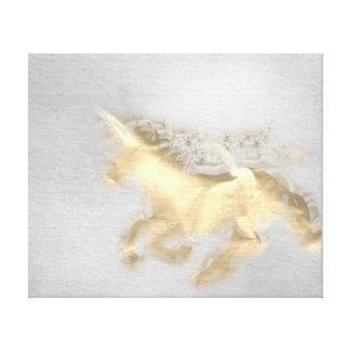 Toile Ciment courant de gris de sépia d'or de cheval de