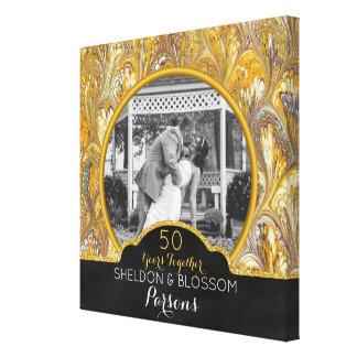 Toile cinquantième Or de photo d'anniversaire de mariage