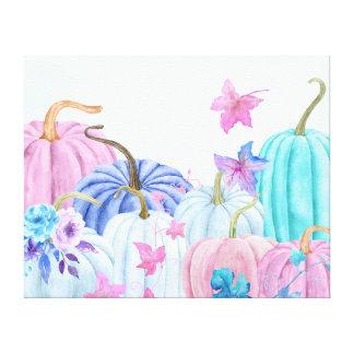 Toile Citrouille en pastel d'aquarelle et cadre floral