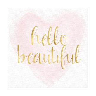 Toile Coeur rose d'aquarelle d'or bonjour beau