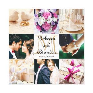 Toile Collage décoré d'un monogramme de photo de mariage