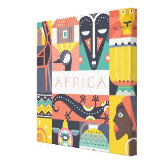 Toile Collage symbolique africain d'art