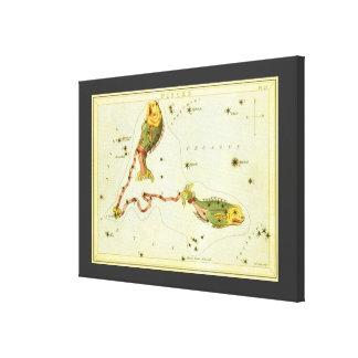 Toile Constellation vintage de poissons de Poissons