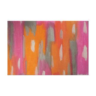 Toile Copie d'art abstrait dans rose, orange, et le gris