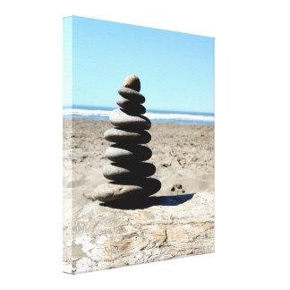 Toile Copie empilée de scène d'océan de roches de plage