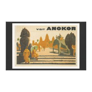 Toile Copie vintage de voyage d'Angkor Vat Cambodge