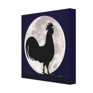 Toile Coq dans le clair de lune