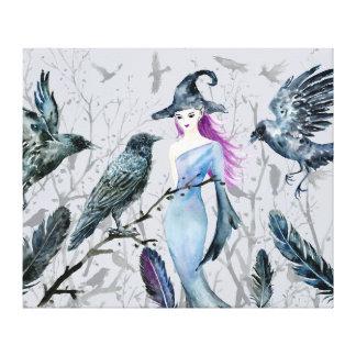Toile Corneilles et sorcière d'aquarelle